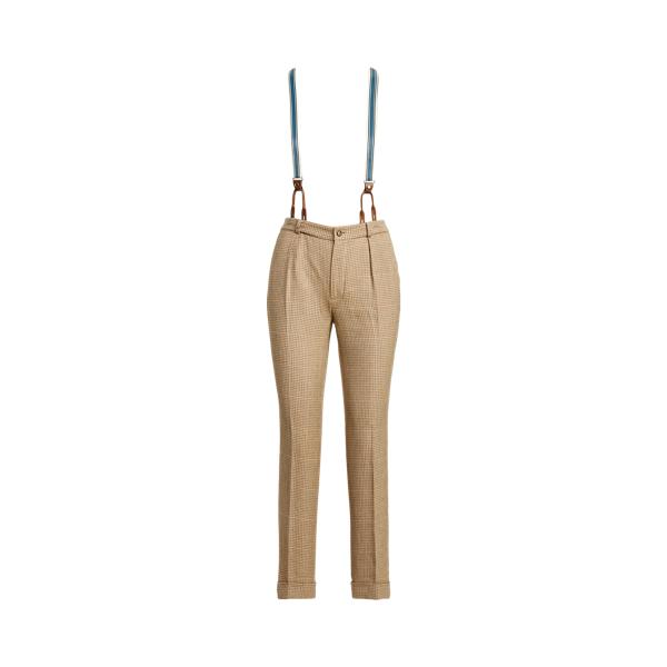 Lauren Cotton Linen Tweed Straight Pant,Tan Multi