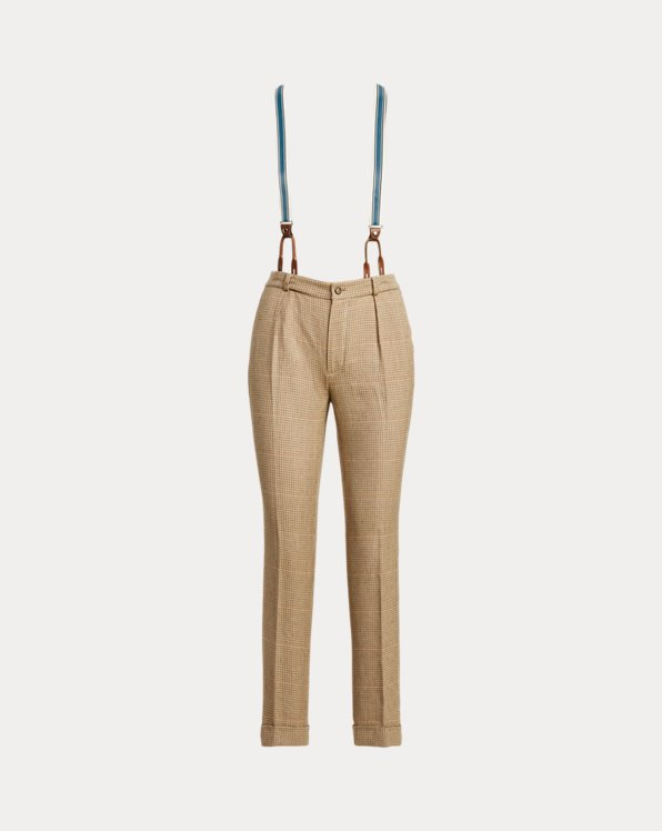 Cotton-Linen Tweed Straight Trouser