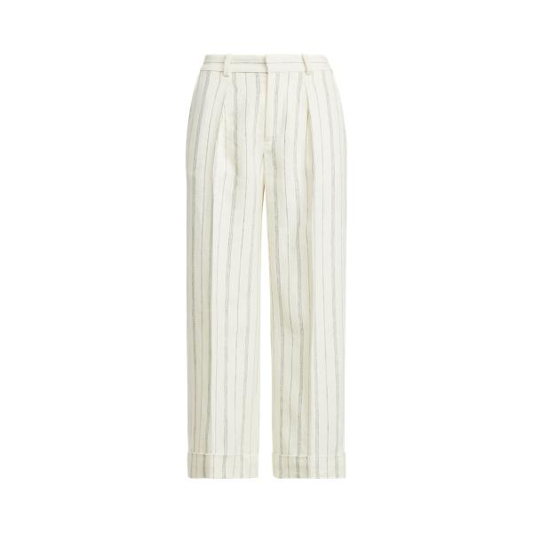 Lauren Striped Linen Twill Wide Leg Pant,Mascarpone Cream/Navy