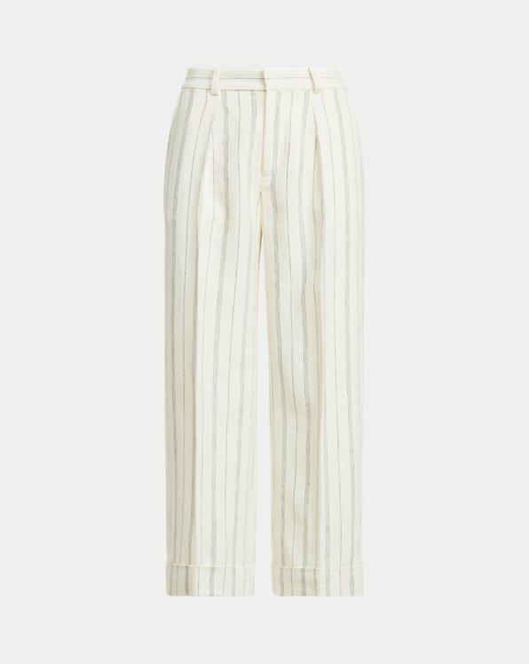 Striped Linen Twill Wide-Leg Trouser