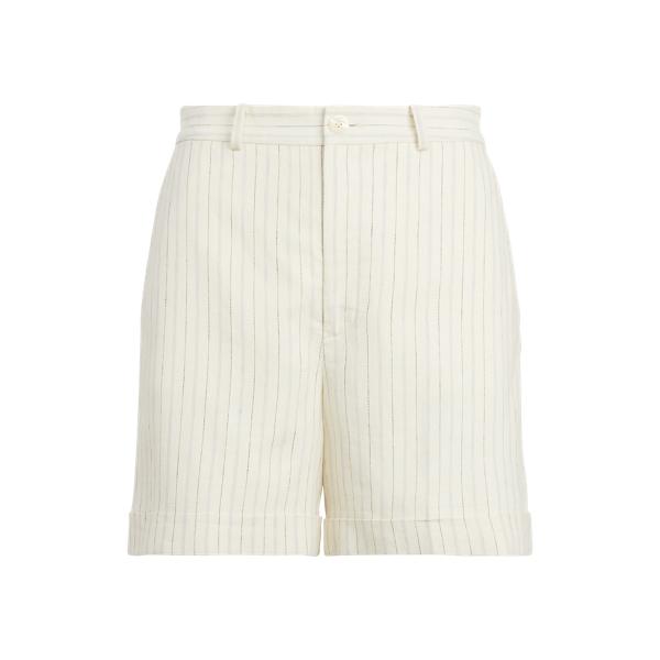 Lauren Striped Linen Twill Short,Cream/Navy Multi