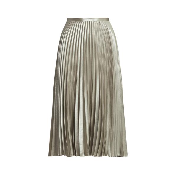 Lauren Pleated Metallic Lame Skirt,Silver