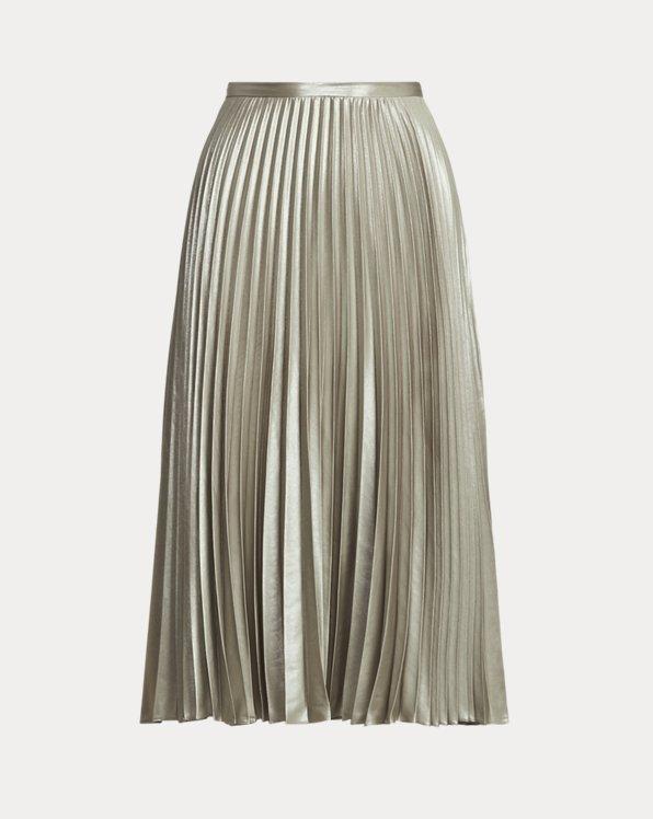 Pleated Metallic Lame Skirt