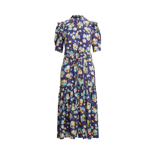 Lauren Floral Georgette Elbow Sleeve Dress,Blue Multi