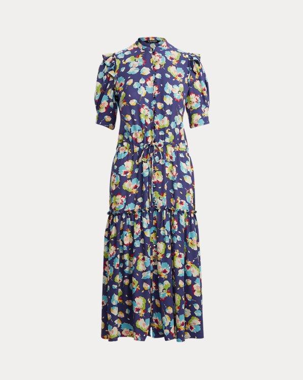 Floral Elbow-Sleeve Georgette Dress