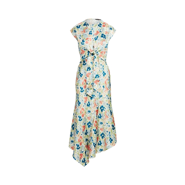 Lauren Floral Satin Dress,Cream Multi