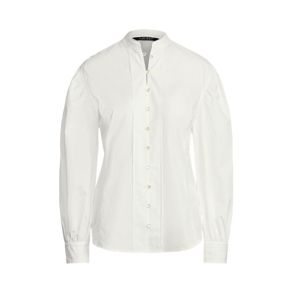 Lauren Cotton Broadcloth Balloon Sleeve Shirt,White
