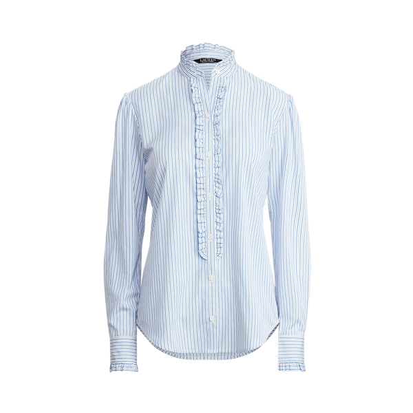 Lauren Ruffle Trim Cotton Broadcloth Shirt,Blue/White Multi