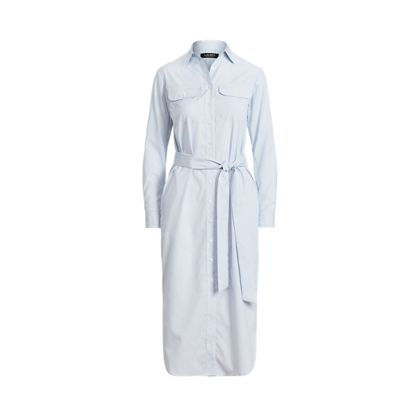 Lauren Striped Cotton Broadcloth Shirtdress,Blue/White Multi