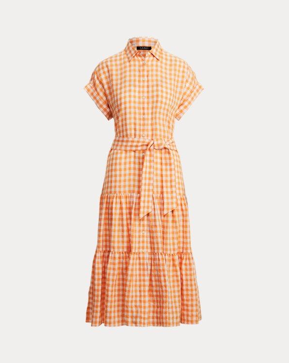 Gingan-Hemdkleid aus Leinen