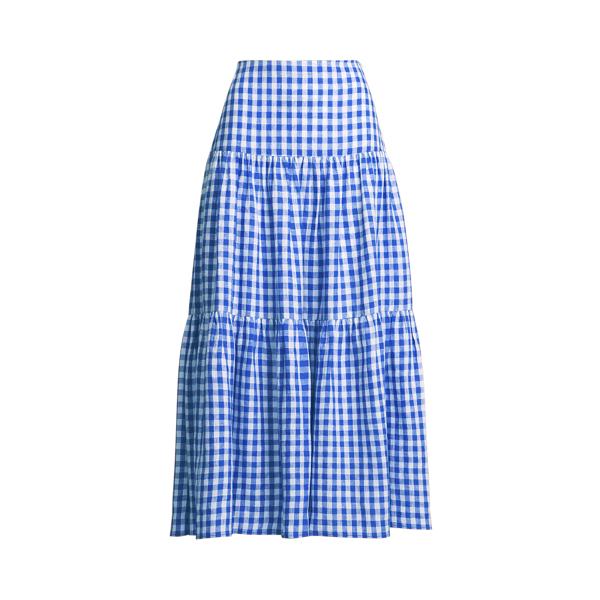 Lauren Gingham Linen Maxiskirt,Blue/White