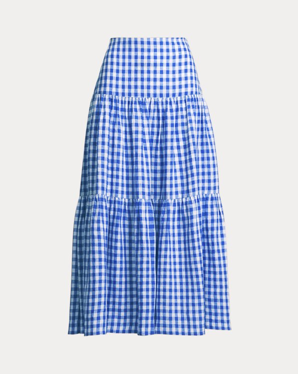 Gingham Linen Maxiskirt
