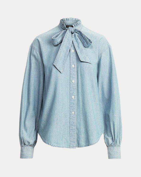 Chambray Tie-Neck Shirt