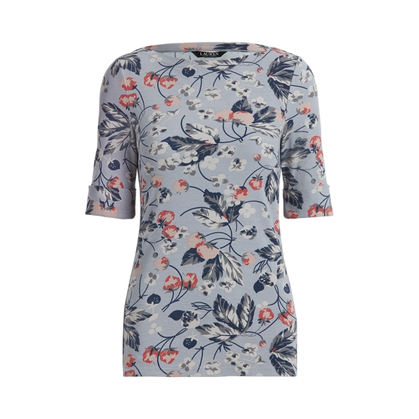 Lauren Floral Cotton Blend Boatneck Top,Dusty Blue Multi