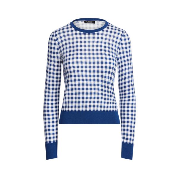 Lauren Gingham Cotton Modal Sweater,Soft Sapphire/ White