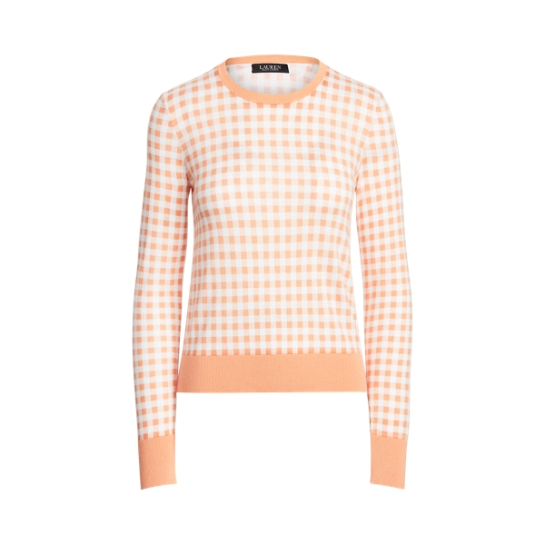 Lauren Gingham Cotton Modal Sweater,Shell Coral/ White