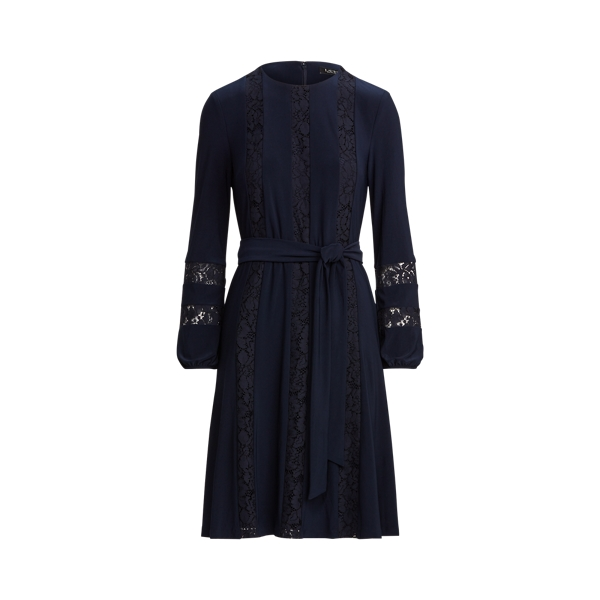 Lauren Bishop Sleeve Jersey Dress,Lighthouse Navy