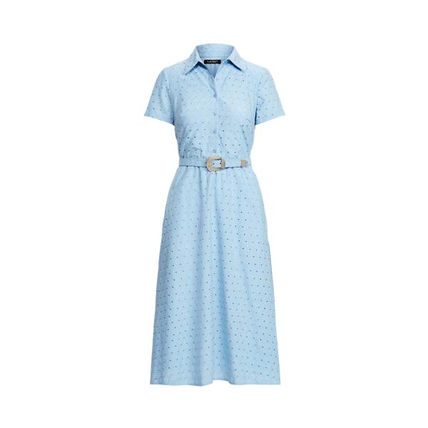 Lauren Belted Eyelet Cotton Shirtdress,Light Sky Blue
