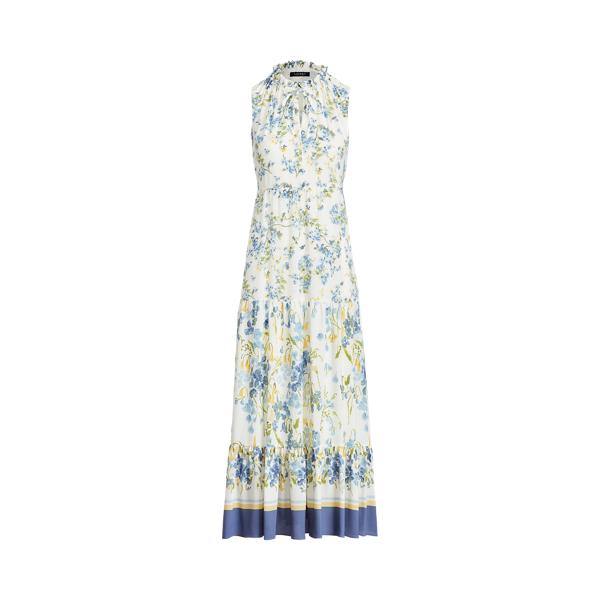 Lauren Floral Crepe Sleeveless Maxidress,Cream/Blue/Multi