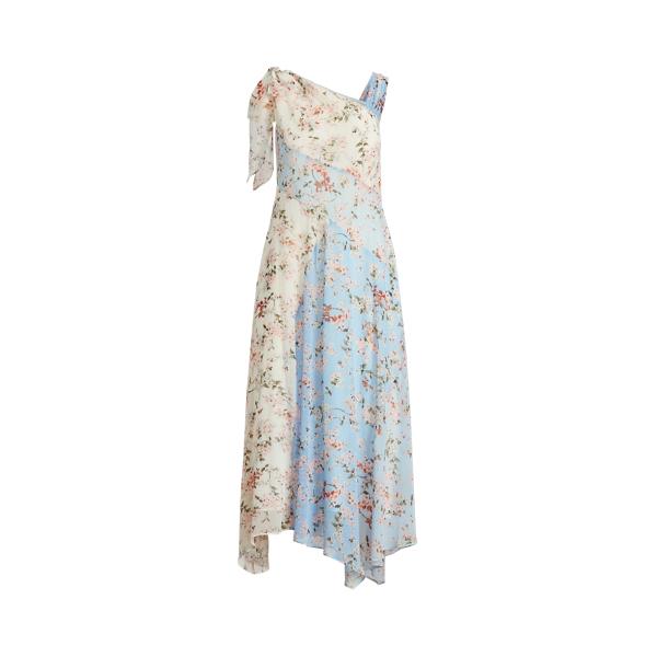 Lauren Floral Crinkled Georgette Dress,Light Blue/Pink