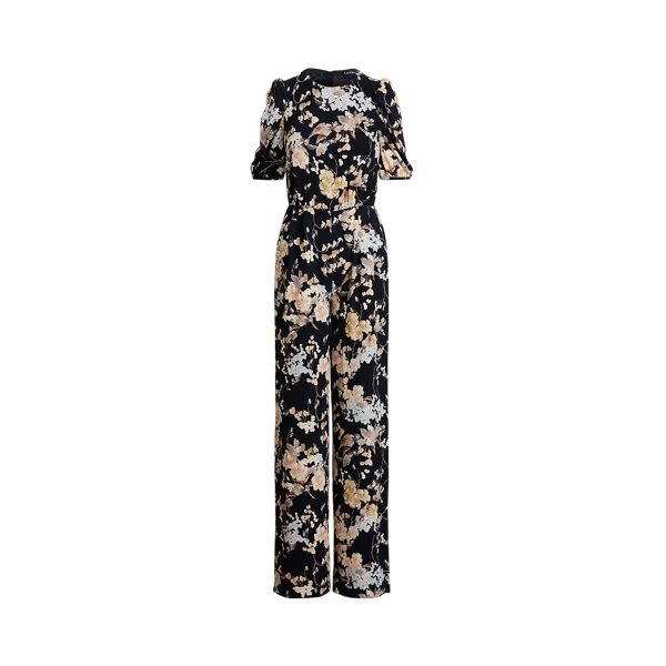 Lauren Floral Puff Sleeve Crepe Jumpsuit,Navy/Yellow/Multi