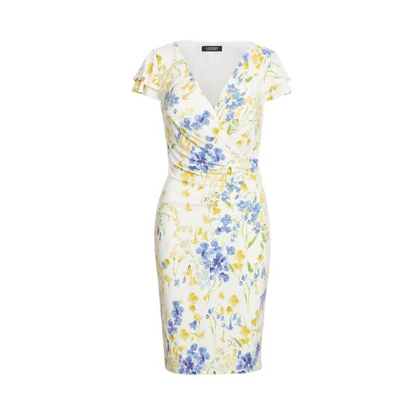 Lauren Floral Jersey Surplice Dress,Cream/Yellow/Multi