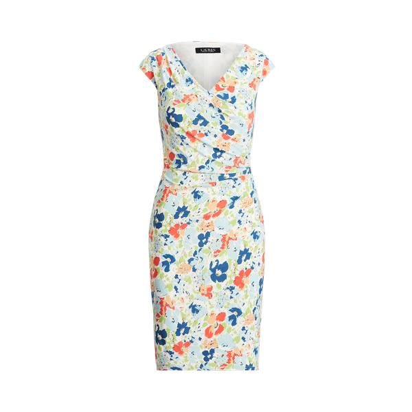 Lauren Floral Pleated Jersey Dress,Cream/Blue/Multi