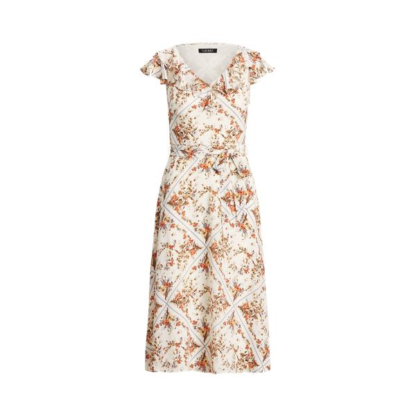 Lauren Floral Crepe Midi Dress,Cream/Yellow