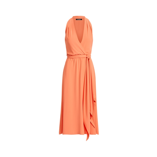 Lauren Crepe Halter Dress,Regal Coral