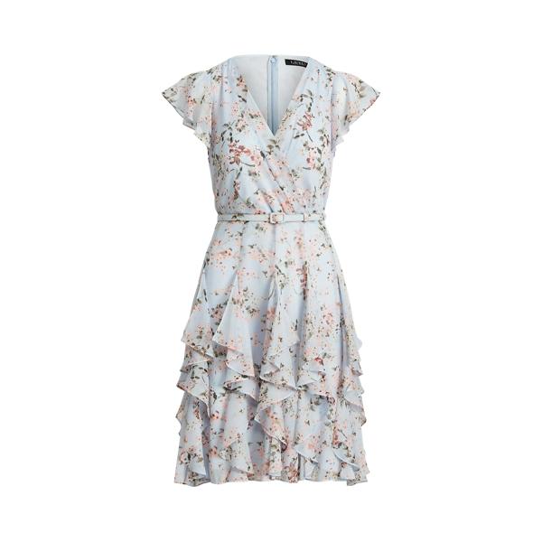 Lauren Floral Ruffle Trim Georgette Dress,Soft Blue/Pink