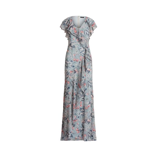 Lauren Floral Ruffle Trim Georgette Gown,Dusty Blue/Pink