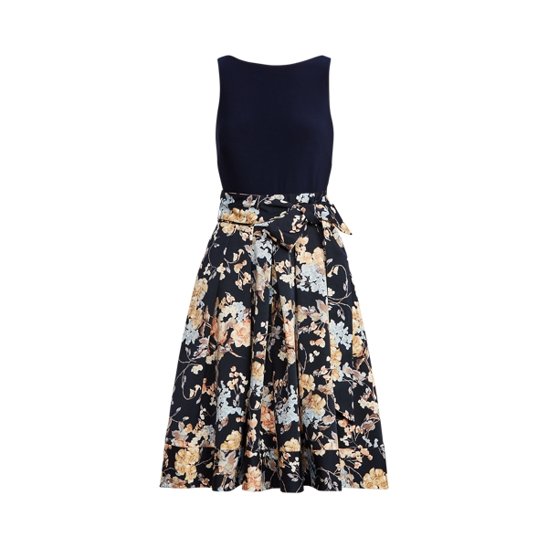 Lauren Floral Sleeveless Faille Dress,Navy/Yellow/Multi