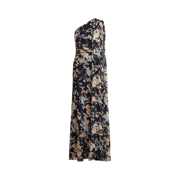 Lauren Floral One Shoulder Georgette Gown,Lighthouse Navy/Yellow