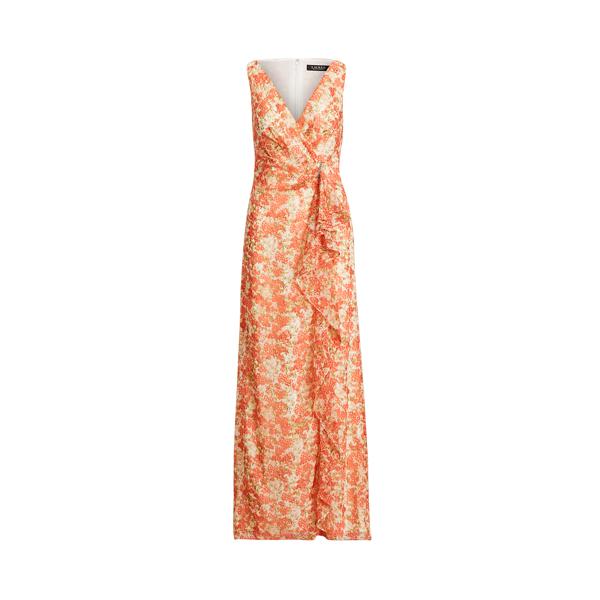 Lauren Floral Ruffle Trim Georgette Gown,Colonial Cream/Coral