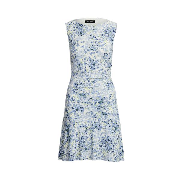 Lauren Petite Floral Sleeveless Jersey Dress,Cream/Blue/Multi