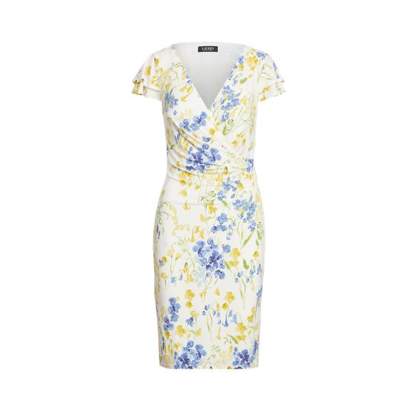 Lauren Petite Floral Jersey Surplice Dress,Cream/Yellow/Multi