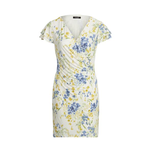 Lauren Woman Floral Jersey Surplice Dress,Cream/Yellow/Multi