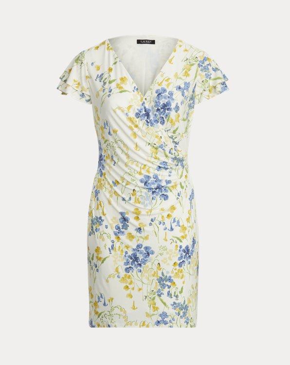 Floral Jersey Surplice Dress