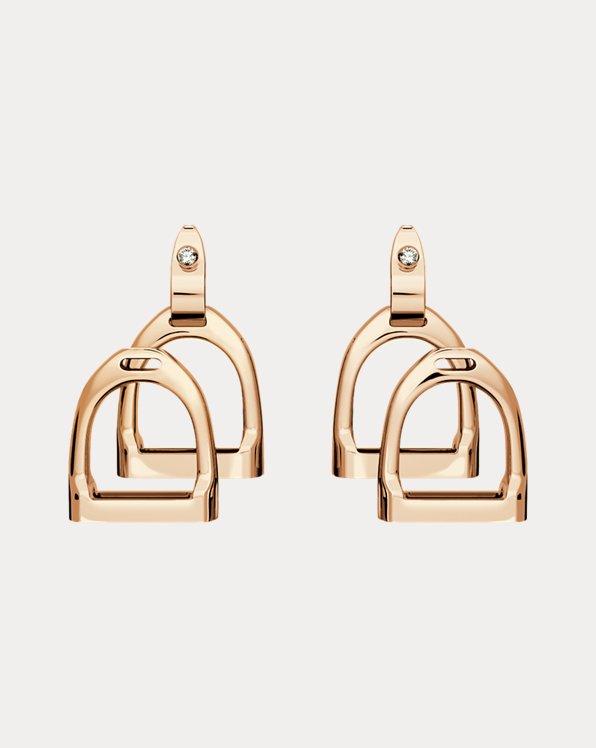 Roségold-Ohrringe mit zwei Steigbügeln