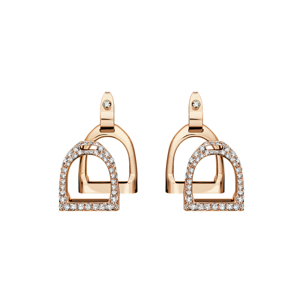 Pave Rose Gold Double-Stirrup Earrings