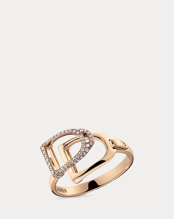 Roségold-Pavé-Ring mit Steigbügeln