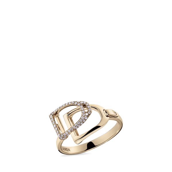 Pave Rose Gold Double-Stirrup Ring