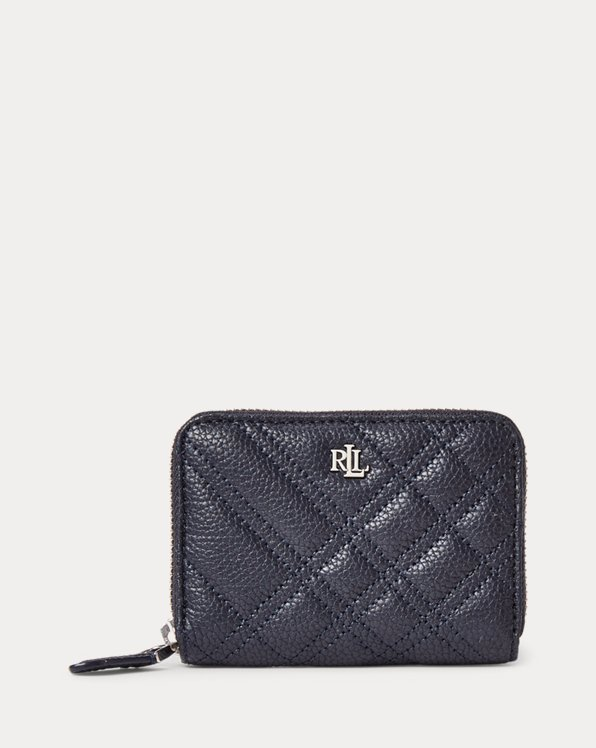 Plaid Quilted Leather Small Zip Wallet