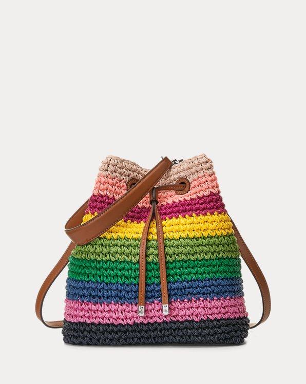 Crochet-Straw Debby Drawstring Bag