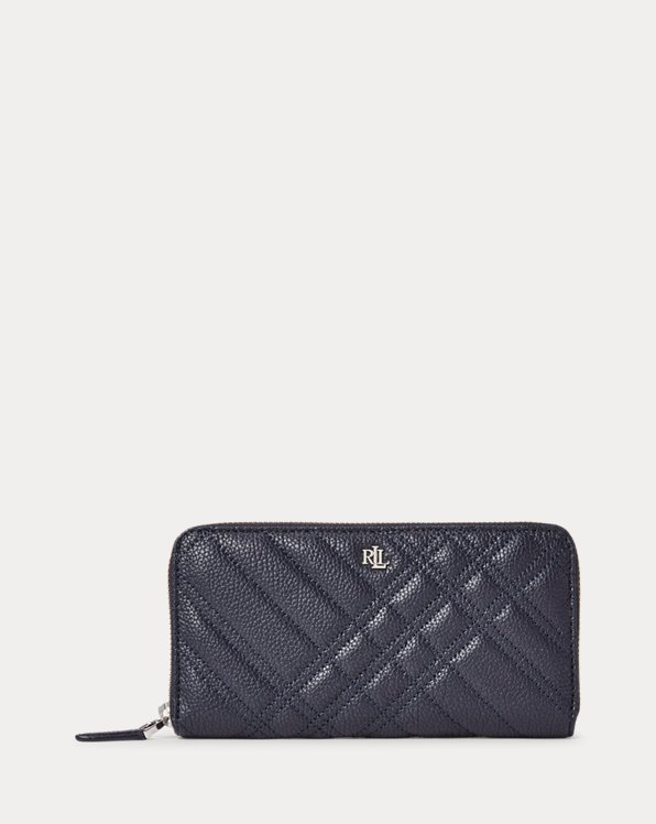 Quilted Plaid Leather Continental Wallet