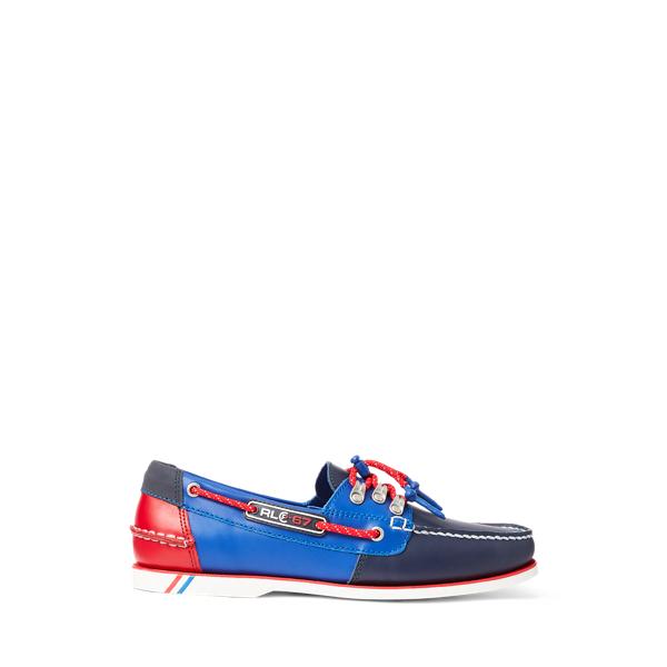 Ralph Lauren Merton Color-blocked Leather Boat Shoe In Blue