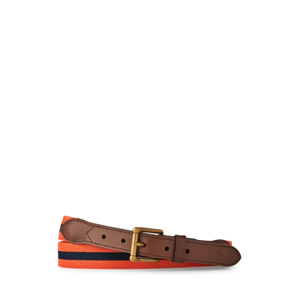 폴로 랄프로렌 Polo Ralph Lauren Leather Trim Stretch Belt,Orange/Navy