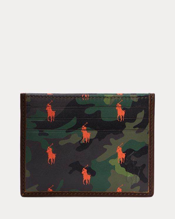 Porte-cartes en cuir à motif camouflage
