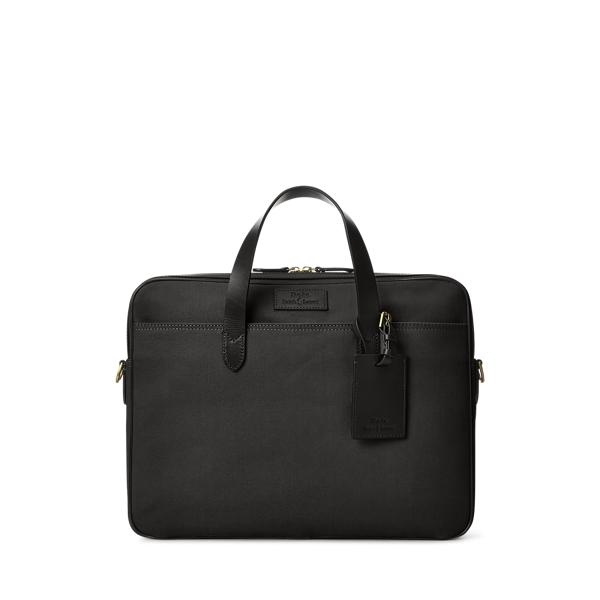 Leather-Trim Canvas Briefcase
