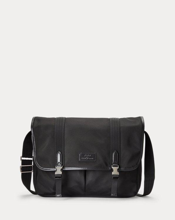 Leather-Trim Messenger Bag